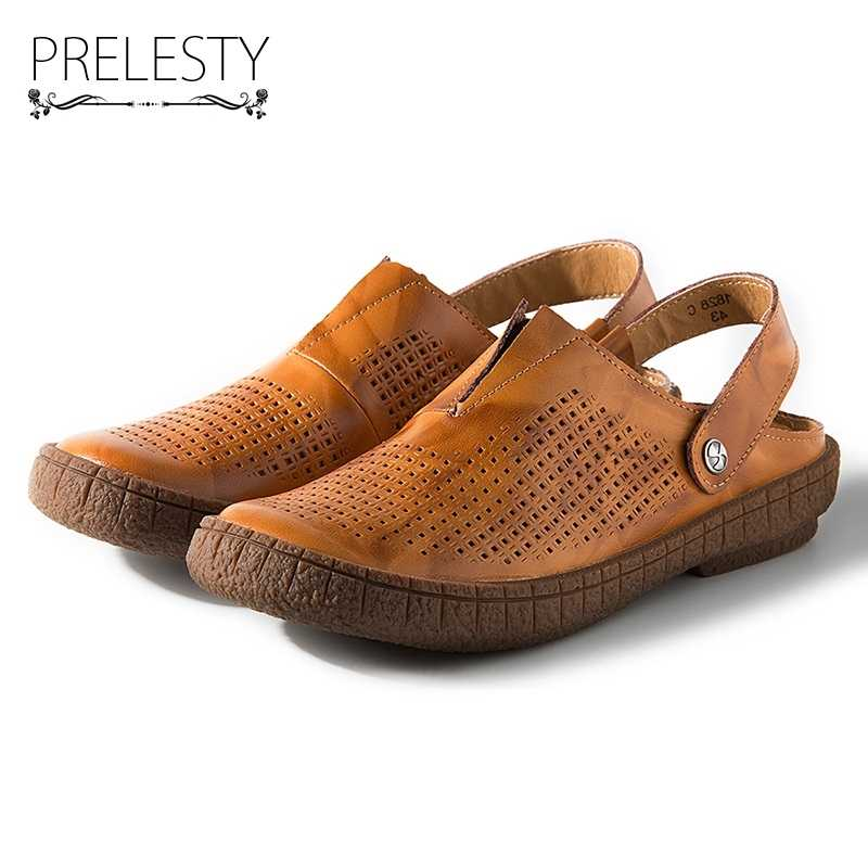3553cfa3be1 Prelesty Summer Genuine Leather Men Sandals Slip on Brown Flip Flop Causal  Fashion Classcial Breathable Shoes