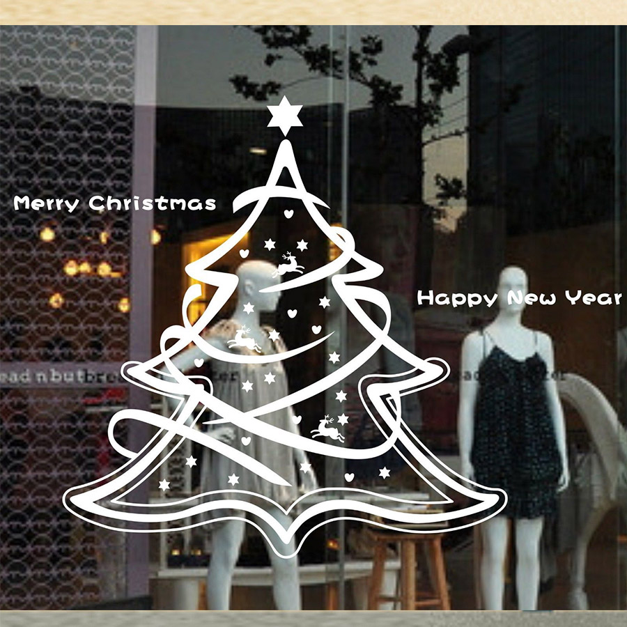 MERRY christmas tree Milu Removable Home Vinyl Window Wall Stickers <font><b>Decal</b></font> decor Happy New Year Deer Love Snow Wall <font><b>Decal</b></font> 57X60CM