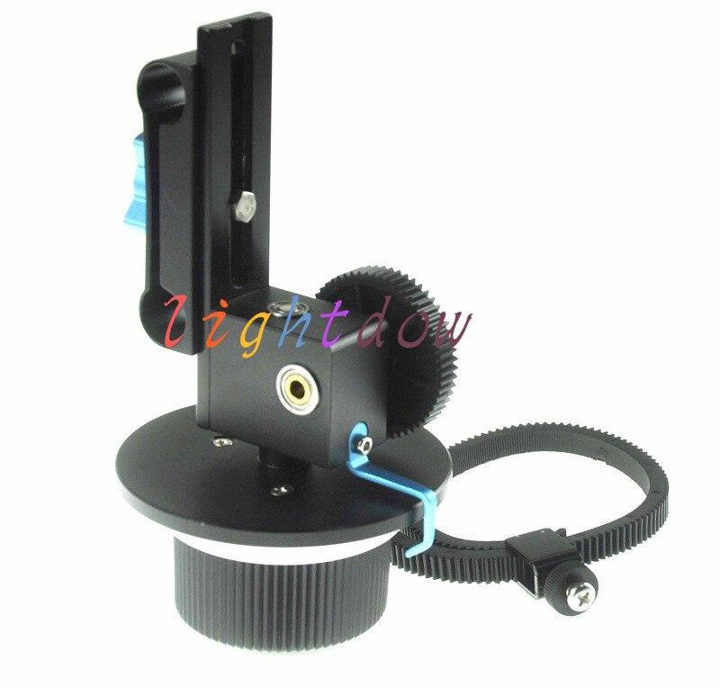 bilder für Lightdow Schnellwechselklemme DSLR Folgen Fokus FF mit Einstellbaren Getriebe Ring Gürtel für 15mm Rod Rig 600D 60D 5D2 GH2 D7000