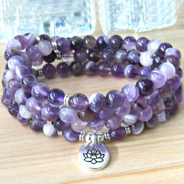 Reiki Charged Prayer Beads Wrist Mala Lotus Om Ohm Purple Bracelets 108 Chevron Amethysts Bracelet