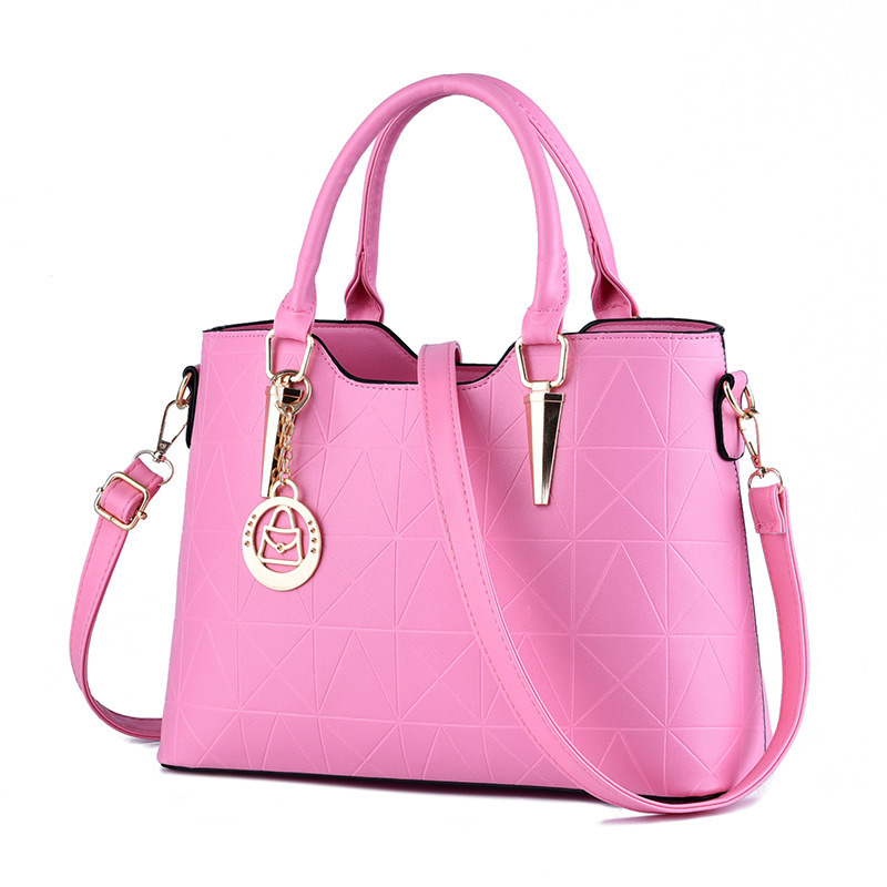 Fashion Casual PU Women Handbag Tote Pink Color Office Lady Shoulder Bag Crossboday Messenger