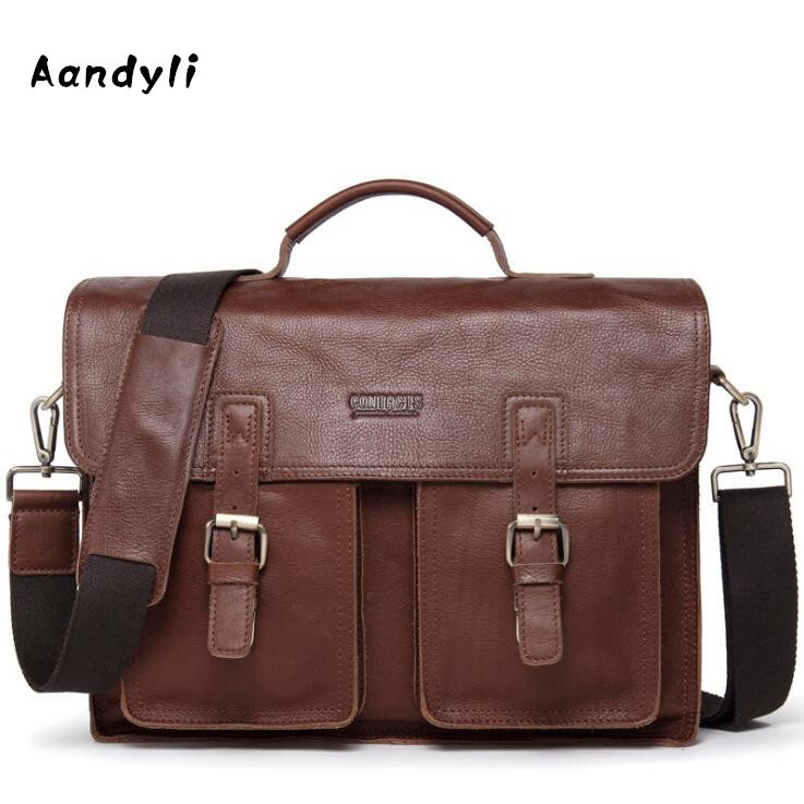 Genuine leather Men handbag Cowhide Men's single shoulder bag Laptop Crossbody Bag genuine leather bag cowhide shoulder men