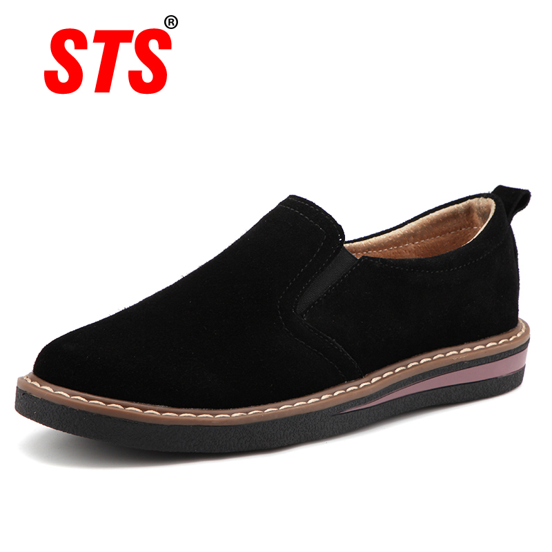 STS BRAND 2019 New Spring Women Flats Sneakers   Suede     Leather   Round Toe Shoes Casual Shoes Women Slip On Flat Loafers Jazz Oxford