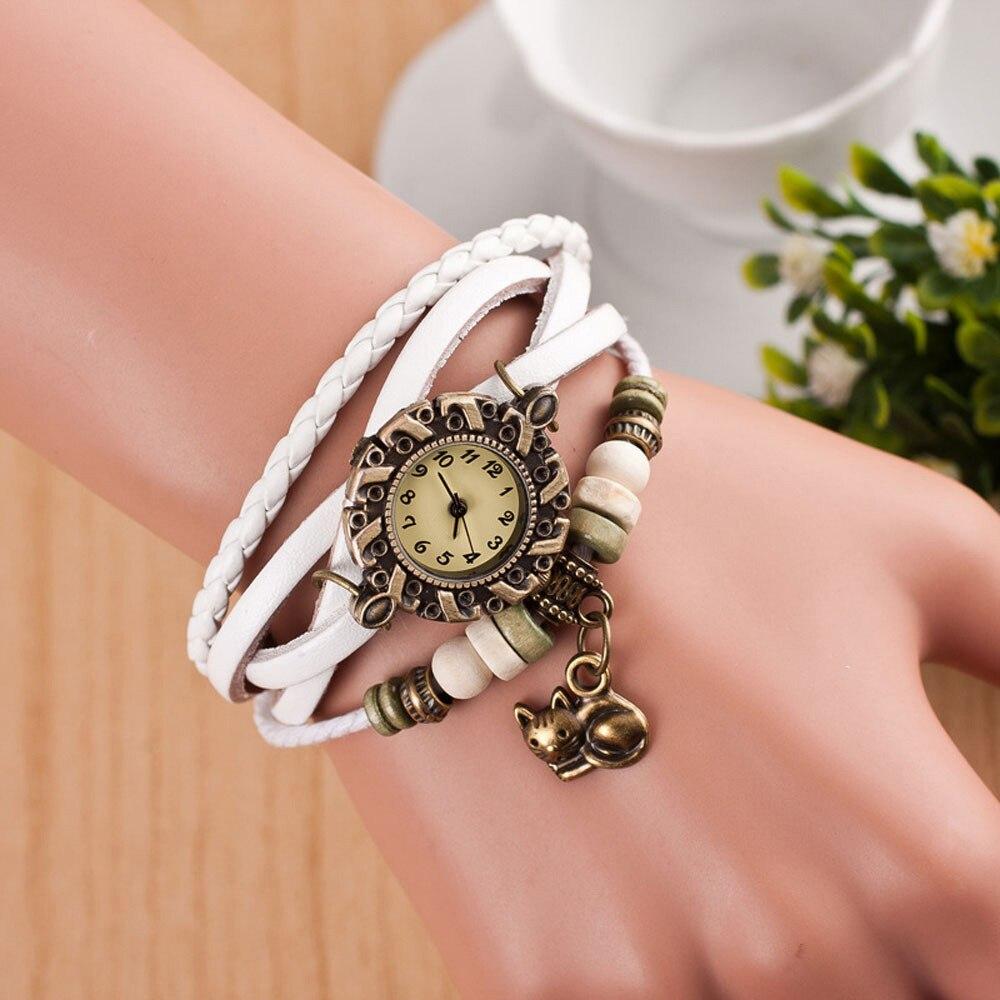 Quartz Weave Around Leather Cat Bracelet Lady Woman Wrist Watch Brand New High Quality Luxury Free