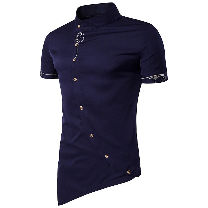 Tuxedo blanco Alta 2018 Oblicua Camisa Botón Tops azul Corta Beige Cuello Personalidad gris Calidad Manga Camisas De Shirts Mao Marca negro Hombres rojo BrqwZxSB