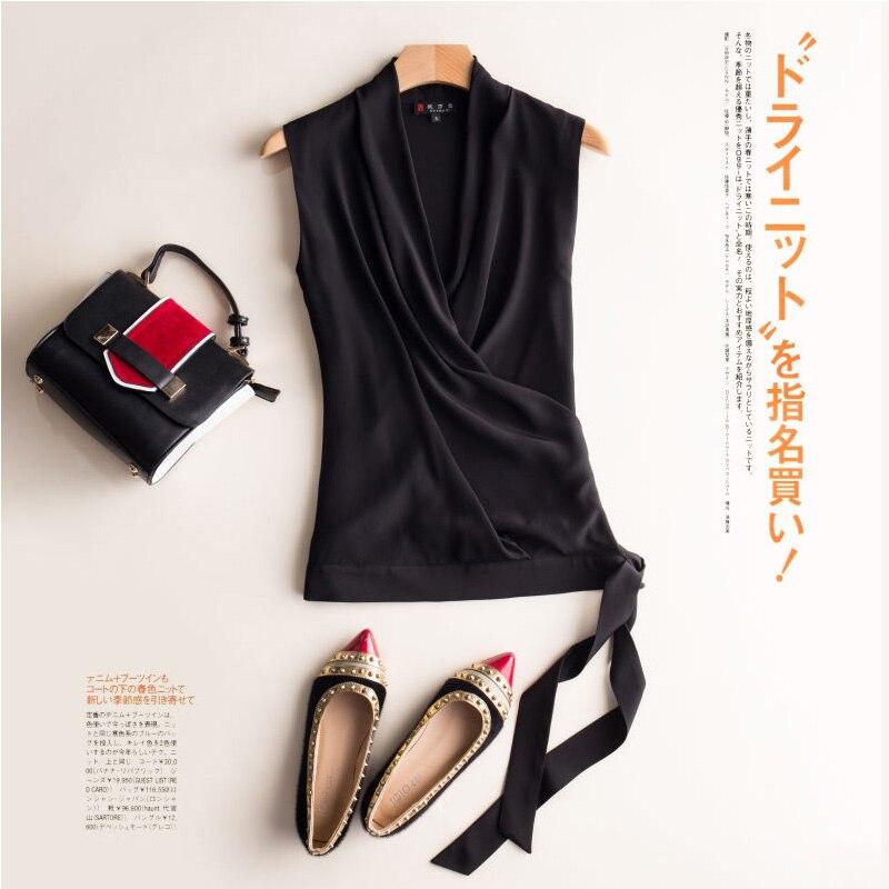 LEECHEE 100% vraie soie femme col en v sans manches slim ceinture décontractée sauvage soie sommets bureau dame gilet chemise noir rouge blanc