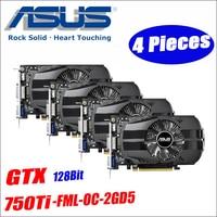 Asus использовали GTX 750TI OC 2GB 4 шт GTX750TI GTX 750TI 2 г D5 DDR5 128 бит настольных ПК Графика карты компьютера GTX 750 DHL Бесплатная