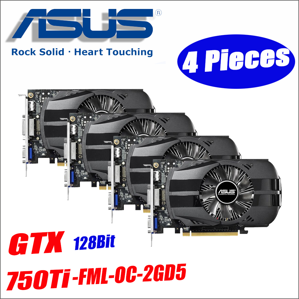 Used Asus GTX-750TI-OC-2GB 4pieces GTX750TI GTX 750TI 2G D5 DDR5 128 Bit PC Desktop Graphics Cards computer GTX 750 DHL Free защитная плёнка для samsung galaxy s9 sm g960 прозрачная samsung et fg960ctegru