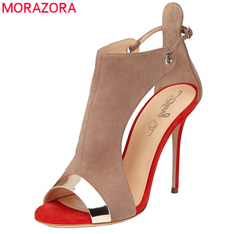 MORAZORA 2019 new arrival women sandals sweet peep toe summer shoes buckle mixed colors super heels