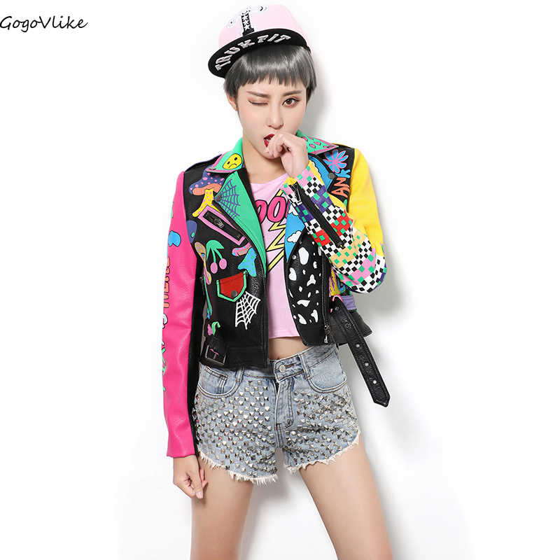 PUNK graffiti PU leather jacket 2019 New women original Epaulet letter jacket Color Block locomotive motocycle