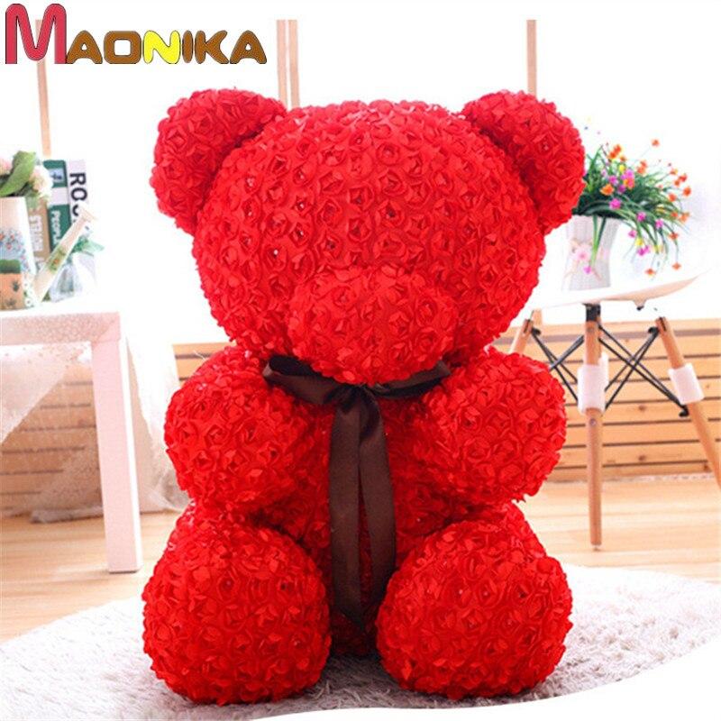Weihnachtsgeschenk Rose Bear Flower Valentinstag Party Love Teddy 60cm Weiß Herz