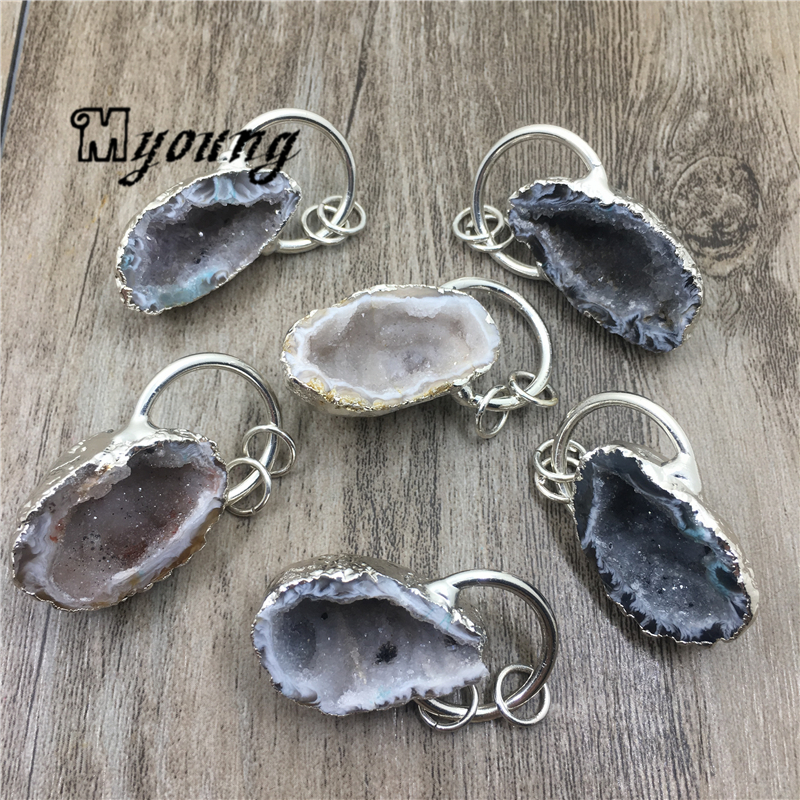 Nature Agates Druzy Geode Pendant Rough Quartz Druse Charms With Silver Plated Finish loop MY1954