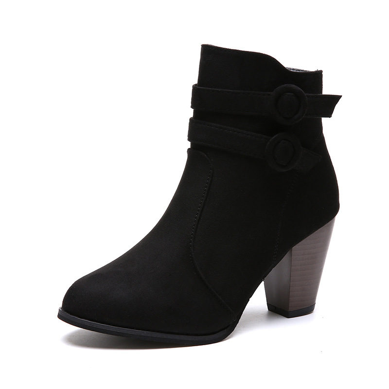 2018 winter new European and American large size side zipper with high heel suede womens boots black ljj 01062018 winter new European and American large size side zipper with high heel suede womens boots black ljj 0106