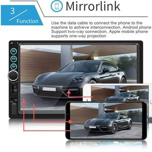 """Image 5 - 7 """"12 V HD Dello Schermo di Bluetooth Auto MP5 Lettore Video Audio Radio FM Macchina Fotografica di Rearview Del Telefono Collegare Auto Displayer con la Luce Colorata"""