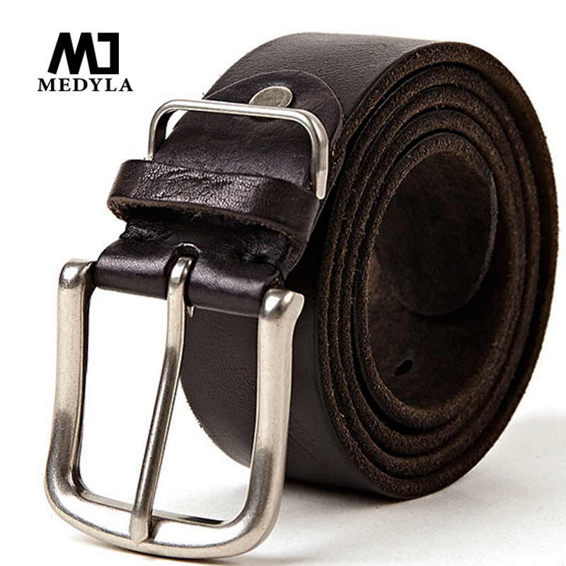 MEDYLA Natural leather men's   belt   High Quality Soft Genuine Leather Masculine Jeans   Belt's   for men 4 colors 105cm-150cm Dropship