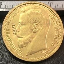 1897 Россия 15 рублей 22K позолоченная копия монеты