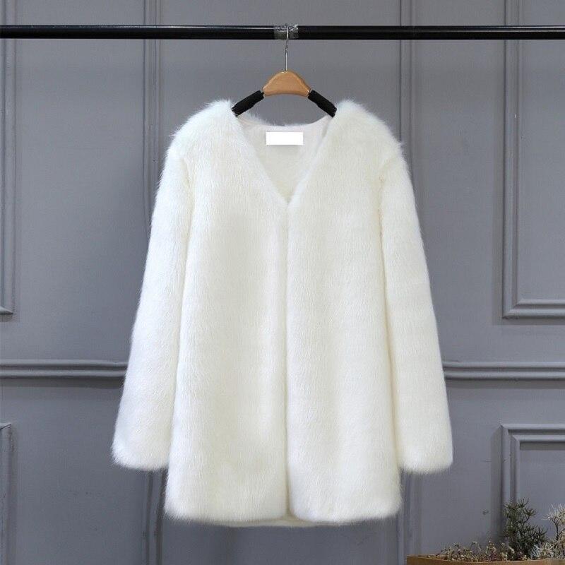 45396319c 7 Mujeres Mujer 5 De Faux Ocasional Coats Piel Peluda Ropa Chaqueta ...