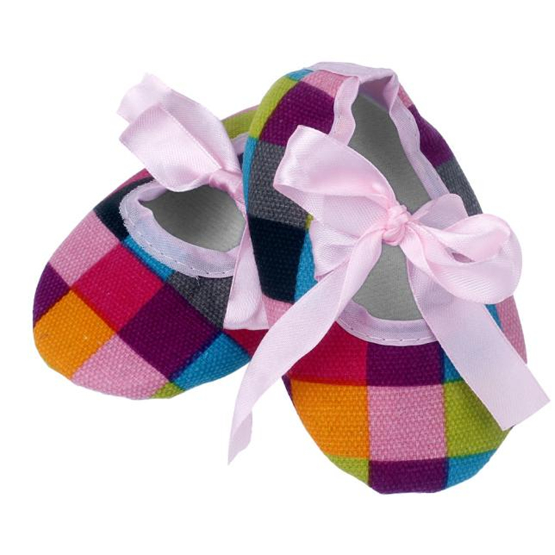 2017 Kids Baby Bowknot Colorful Lattice Printing Newborn Cloth Shoes BTTF