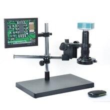 Best price 1080P HDMI Full HD USB Digital Industrial Microscope Camera + 180X C-mount Lens + Big Boom Stand Holder+ LED Light