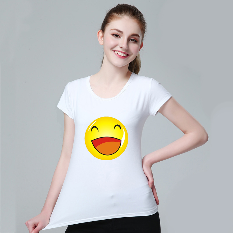 2018 White Summer Trendy Tops Tees Funny Print Casual T-shirts Men Women O-neck With Cute Expression Emoji Face Female tshirt