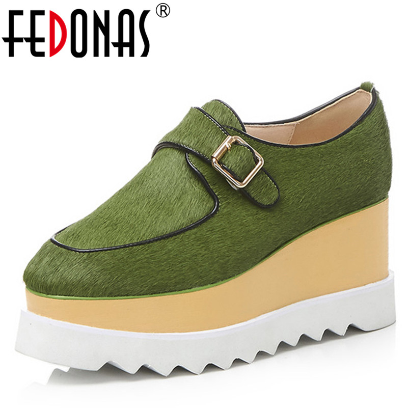 FEDONAS New Fashion Flats Platforms Women Shoes Spring Autumn Casual Shoes Buckles Horsehairs Quality Comfort Flats Shoes цена 2017
