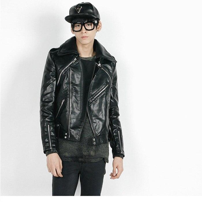 Casual Cuir Veste Patchwork En Hommes Noir Punk D'hiver Moto Faux Pu w6qIRr60