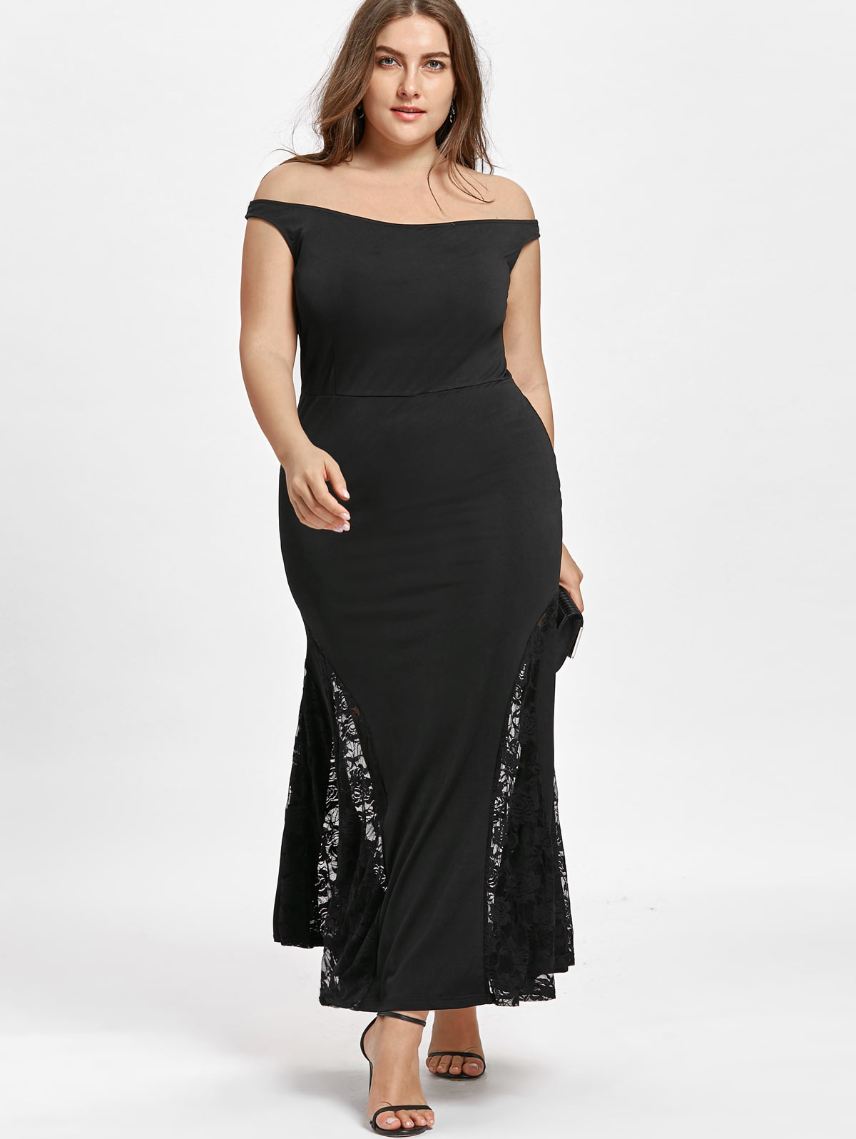 2ed30d0ec46e Dresses Length: Ankle-Length Neckline: Off The Shoulder Sleeve Length: Short  Sleeves Waist: High Waisted Embellishment: Lace,Panel Pattern Type: Solid  Color