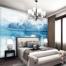 Custom wallpaper artistic conception abstract ink landscape deer TV background wall painting waterproof material