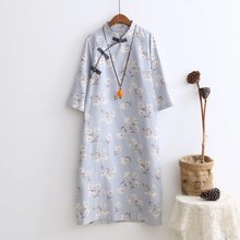 Autumn Big Size Cotton Original Retro Chinese Plate Buttons Flower Floral Print Long-sleeve Casual Loose Robe Women Dress