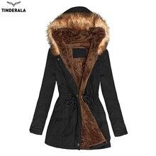 High Quality New women winter coat fur wadded jacket medium-long Parka fur collar warm hooded abrigos female snow wear outerwear