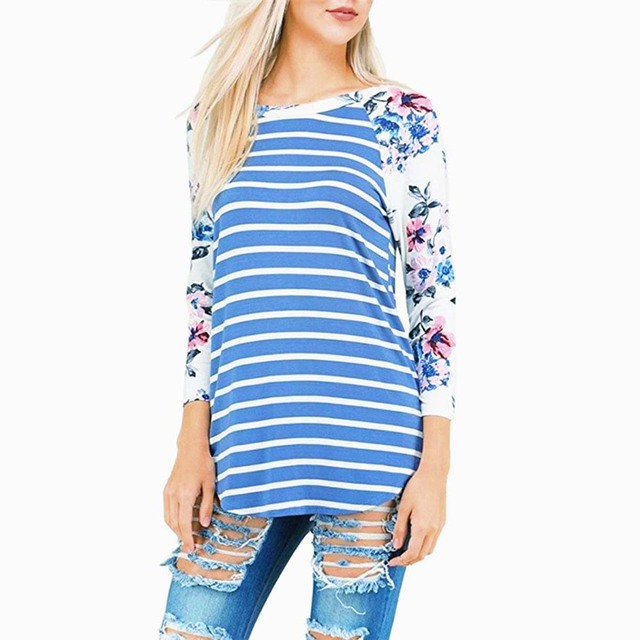 Striped T-shirt Long Sleeve Tops for Women 1