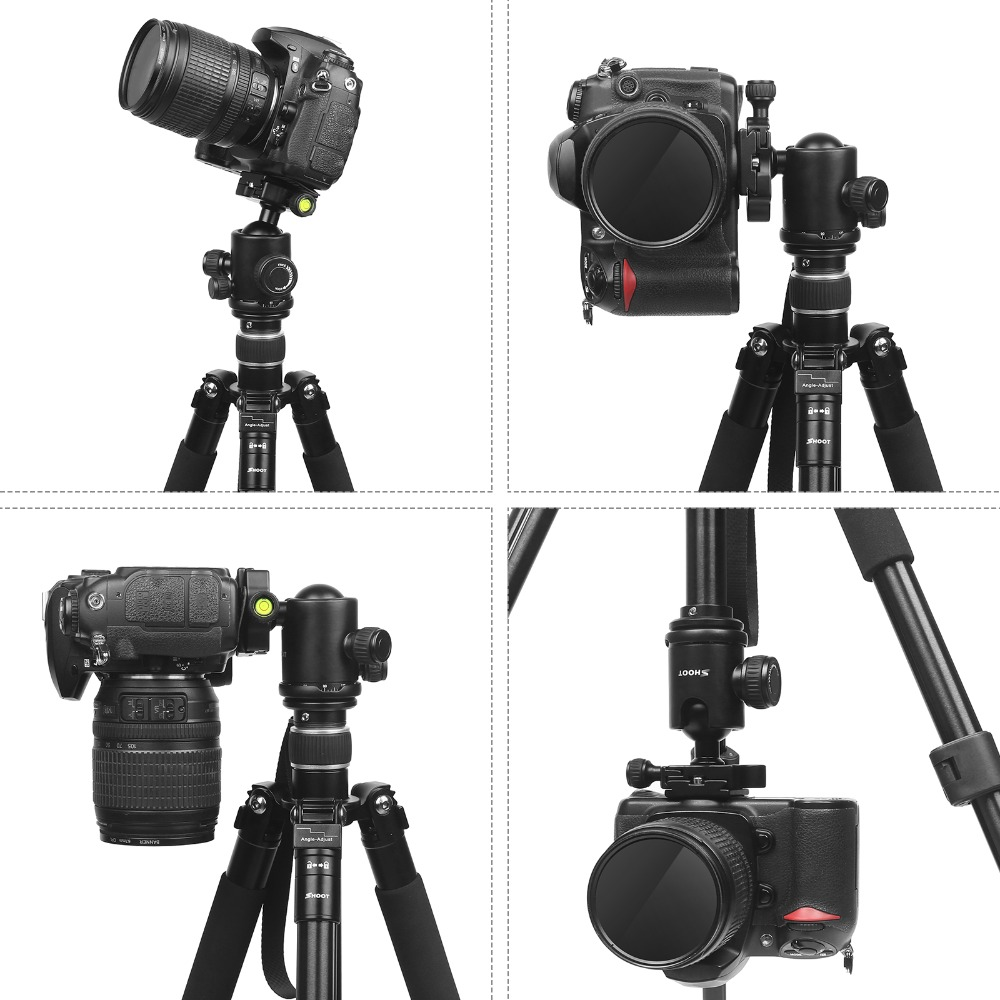 Image 3 - SHOOT Professional Portable Travel Camera Tripod Aluminum Alloy 4 Sections Tripod Stand for Canon Nikon SLR DSLR Digital Camera-in Tripods from Consumer Electronics