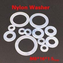 [8*16*1.5] Высокое качество 500 шт./лот M8 внутренний плоский Пластик нейлон Spacer плоские Прижимные шайбы изоляции Прокладка кольцо белый шайба 8*16*1.5
