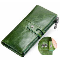 IMIDO genuine leather fashion women long wallet card holder purse women pouch clutch
