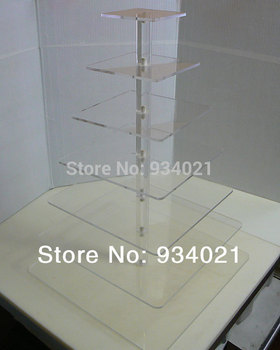 Square Acrylic Clear 7 Tier Cupcake Cup Cake Stand Wedding Party wedding decoration