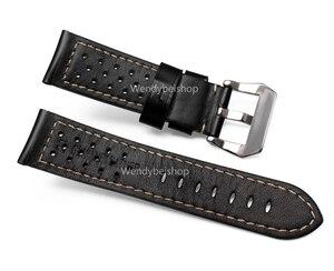 Image 3 - CARLYWET 22 24 26 мм оптовая продажа, черные коричневые настоящие кожаные старинные часы ремешок с матовой пряжкой для радиометра