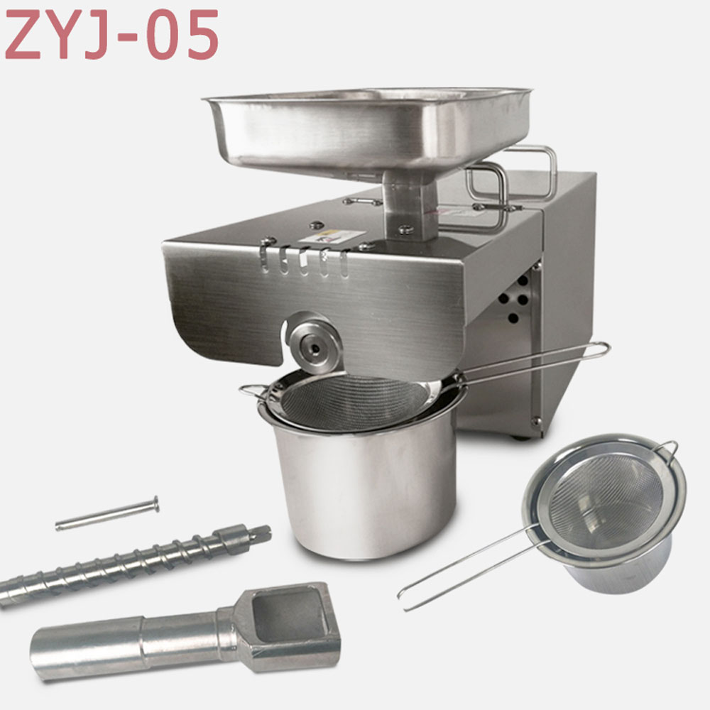 ZYJ-05 Home Oil press machine Stainless steel screw oil making machine for seeds nuts 110v/220v available home use automatic oil press machine electric nuts seeds oil pressure stainless steel oil extraction hot and cold pressing machi