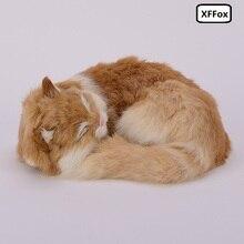 beautiful real life sleeping cat model plastic&furs cute yellow doll gift about 25x20x11cmxf1382