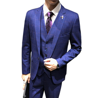 Classic Blue Plaid Men Jacket with Pant and Vest Asian Size S M L XL XXL XXXL Slim Design Men 3Piece Set