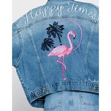 Fashion Back Embroidery Bomber Women Denim Jackets Lapel Picket Coat Long Sleeve Autumn Winter  Outerwear veste en jean  DGCD70
