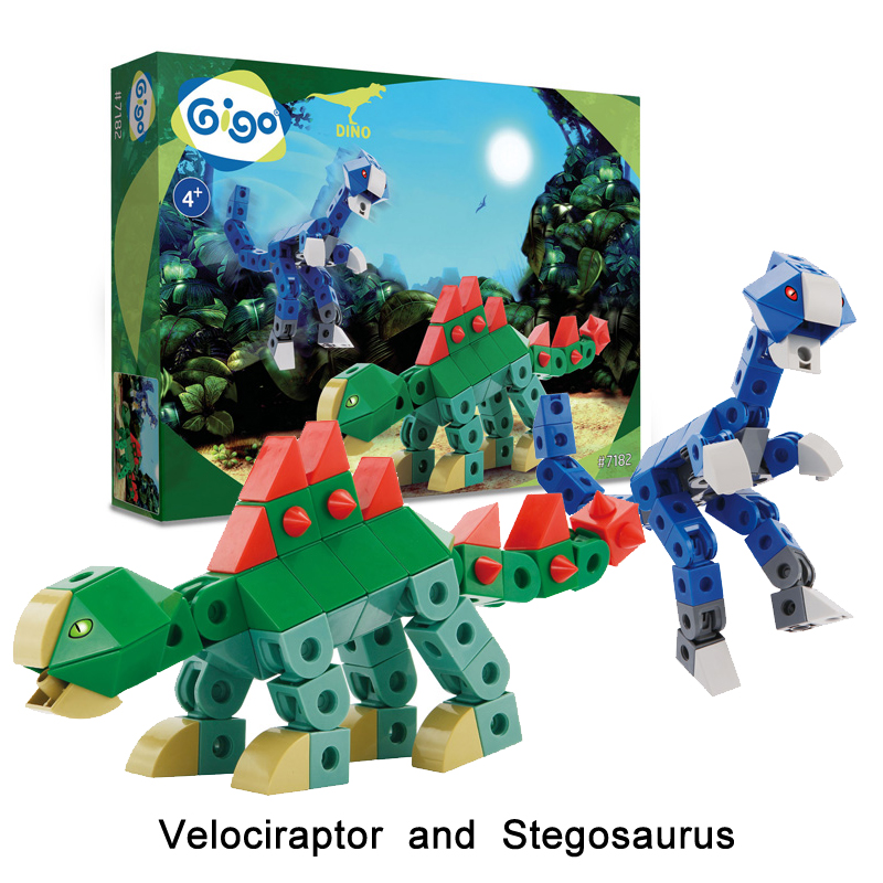 Gigo 157PCS DIY Ancient Dinosaur VELOCIRAPTOR and STEGOSAURUS Creative Building Blocks 3 Models Kids' Blocks Toys #7182