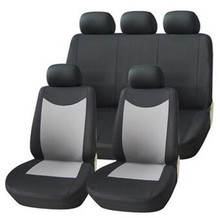 Universal Car Seat Covers Set (9 Pieces) Black/Grey Washable & Airbag Compatible Polyester Material Cases Accessories