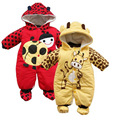 Hot Selling cartoon animal style cotton-padded baby romper infant warm cow and beetle suit kid clothing free Shipping