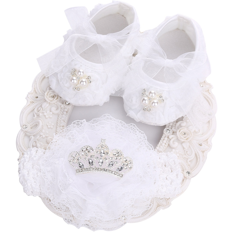 White Toddler Girl Shoes Vintage Accessories Party Baptism Set,Infant Shoes Ballerina Booties,Newborn Rhinestone Shoes For Kids