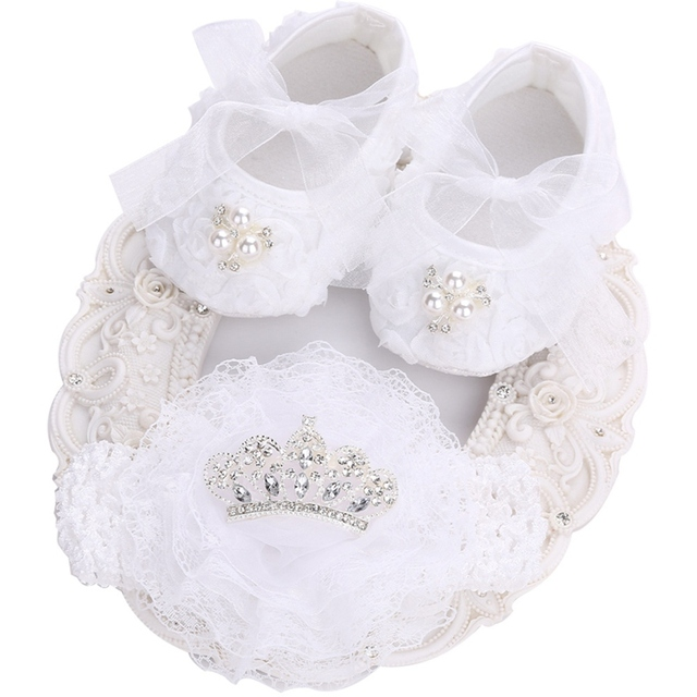 88082881e636 White Toddler Girl Shoes Vintage Accessories Party baptism Set ...