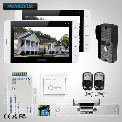 "HOMSECUR 7"" Wired Video&Audio Home Intercom+White Monitor for Home Security 1C2M+ L1:TC031 Camera + TM703-W Monitor(White)+Lock"