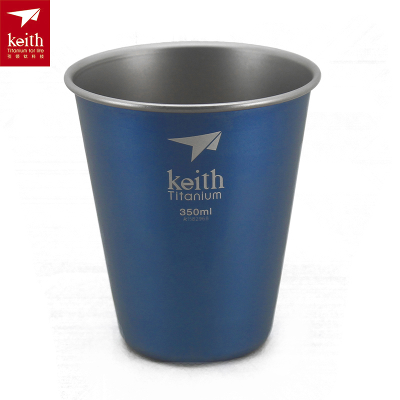 Keith Titanium Cup Outdoor Cup Beer Mug Outdoor Portable Camping Cup trendy slimming round neck short sleeves button design solid color t shirt for men