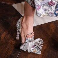 Женские туфли лодочки с цветочным узлом бабочкой в стиле ретро, туфли лодочки на необычном каблуке, женские туфли на высоком каблуке с остры