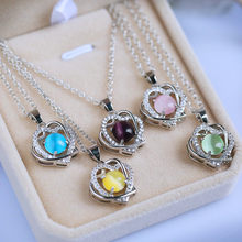 Cute Female Yellow Blue Green Moonstone Pendant Necklace 2019 Fashion 925 Silver Choker Heart Necklaces For Women New Year Gifts(China)
