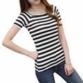 2016 Women Fashion T Shirt Summer Ladies Tshirt Sexy Crop Tops Striped Short sleeved T-shirt Women Casual Clothing Slim Tops